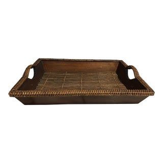 1980s Bamboo & Wood Tray For Sale