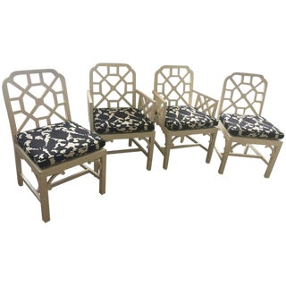 1970s Vintage Chinese Chippendale Style Chairs- Set of 4 For Sale