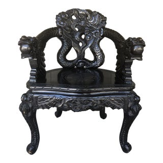 Carved Asian Open Armchair For Sale