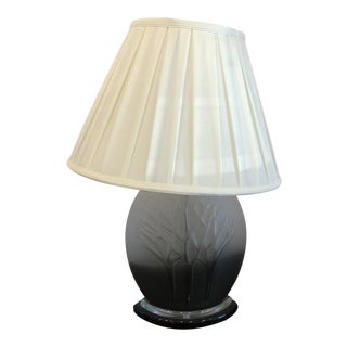 Lalique Style Ombré Frosted Glass Lamp For Sale