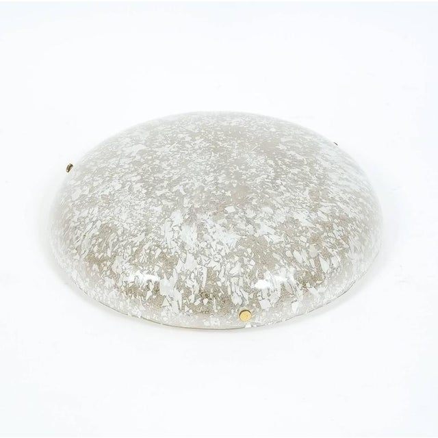 1960s Pair of Large Brass and Glass Flush Mount by Hillebrand, circa 1960 For Sale - Image 5 of 5