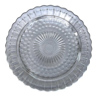 1930s Vintage Glass Cake Plate For Sale