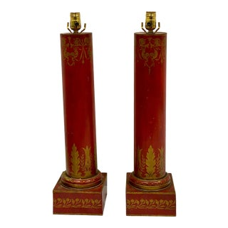 Antique French Red Tole Neo-Classical Cylinder Form Table Lamps-Pair For Sale