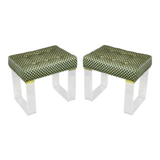 Infinity Style Chenille & Lucite Benches - A Pair For Sale