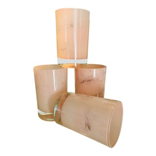Vintage Mid-Century Modern Marbled Pink & Gold Shot Glasses For Sale