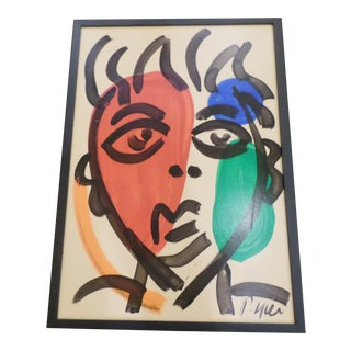 Peter Keil, Abstract Portrait on Masonite For Sale