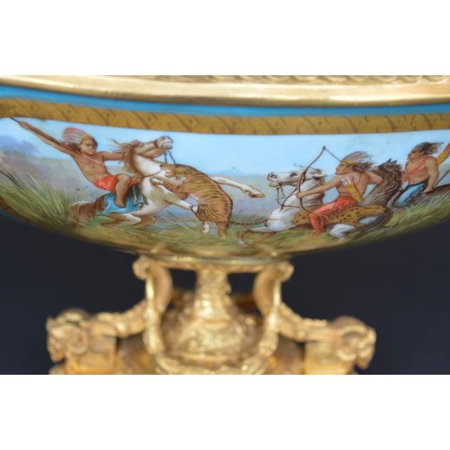 Sevres Style Parcel-Gilt Ormolu Mounted Enameled Blue Celeste Bowl For Sale In Los Angeles - Image 6 of 7