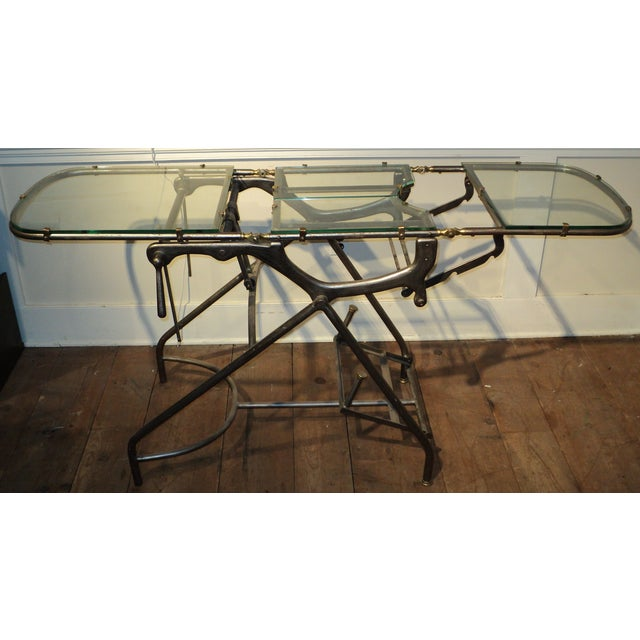 Antique Industrial Metal Glass Medical Chair Table - Image 11 of 11
