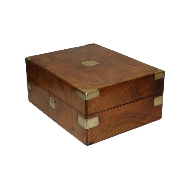 Campaign Burl Walnut Box With Brass Accents. English 19th Century For Sale - Image 3 of 6