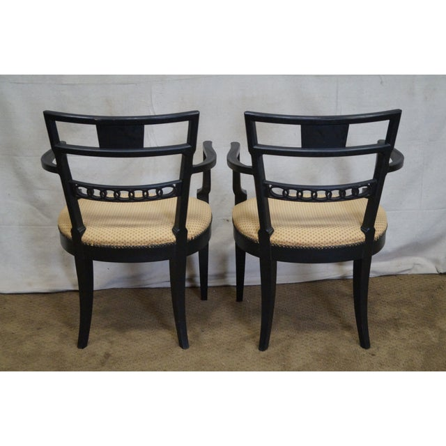 vintage regency style black painted dining chairs set of 6 chairish. Black Bedroom Furniture Sets. Home Design Ideas