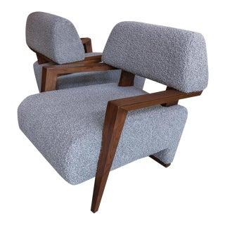 Custom Art Deco Midcentury Style Walnut Armchairs - a Pair For Sale