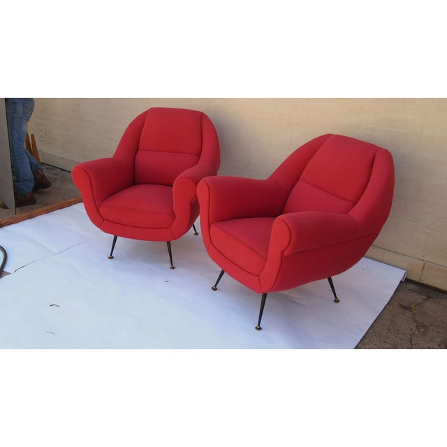 Italian Vintage Upholstered Arm Chairs - A Pair - Image 3 of 4