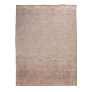 Contemporary Geometric Beige Wool and Silk Rug With Dot Pattern - 9′2″ × 12′1″ For Sale