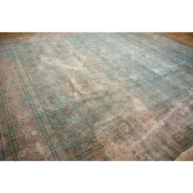 """Vintage Distressed Tabriz Square Carpet - 11'10"""" X 13'11"""" For Sale - Image 11 of 13"""
