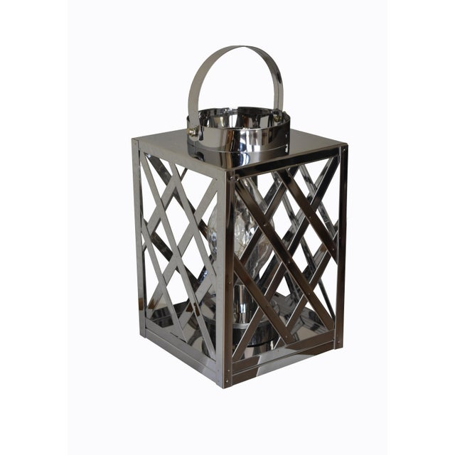 Lantern Led Silver Cube For Sale - Image 4 of 6