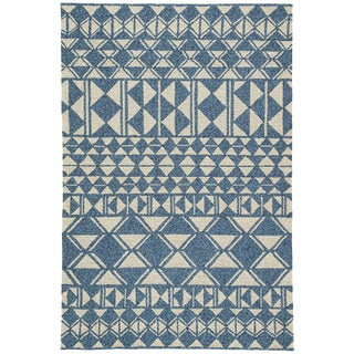 Jaipur Living Botella Indoor/ Outdoor Geometric Blue/ Cream Area Rug - 2′ × 3′ For Sale