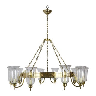 Late 20th Century Large Custom 10-Light Brass Chandelier With Hurricane Shades For Sale
