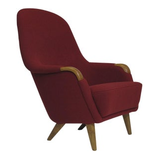 Danish Lounge Chair in Red Wool For Sale