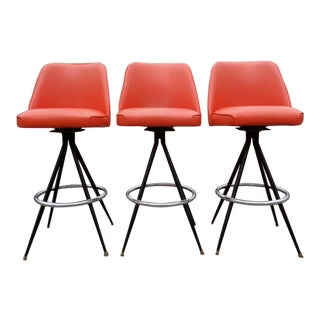 Mid Century Modern Atomic Orange Swivel Bar Stools - Set of 3 For Sale
