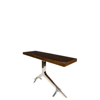 Contemporary Chrome Branch Console Table With Brown Top For Sale