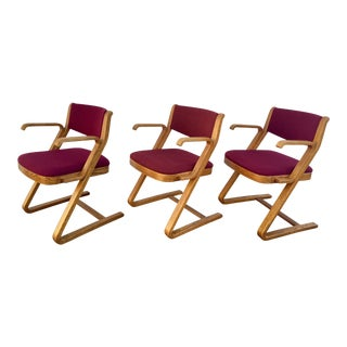 Vintage Mid Century Bentwood Cantilever Chairs- Set of 3 For Sale