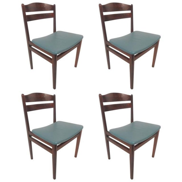 Mid-Century Modern Set of Four Mid-Century Modern Danish Rosewood Dining Chairs with Leather Seats For Sale - Image 3 of 11