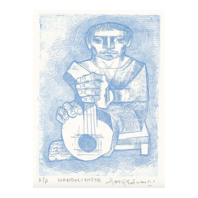 1970s Jorge Dumas Mandolinista Etching For Sale