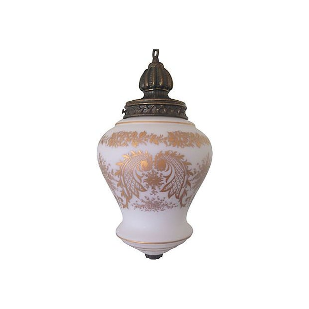Hand-Painted French Glass Pendant Light - Image 1 of 5