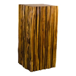 1990s Vintage Abstract Natural Wood Live Edge Pedestal Stand For Sale