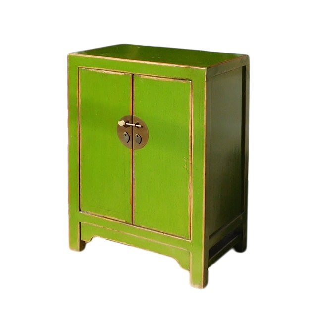 Asian Chinese Rustic Lime Green End Table Nightstand For Sale - Image 3 of 6