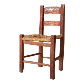 Antique Rush Seat Folk Chair For Sale