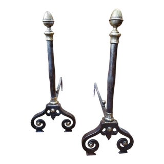 19th Century Louis XIV Style French Provincial Andirons - a Pair For Sale