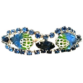 Mid-20th Century Silver, Austrian Crystal & Molded Glass Bracelet For Sale