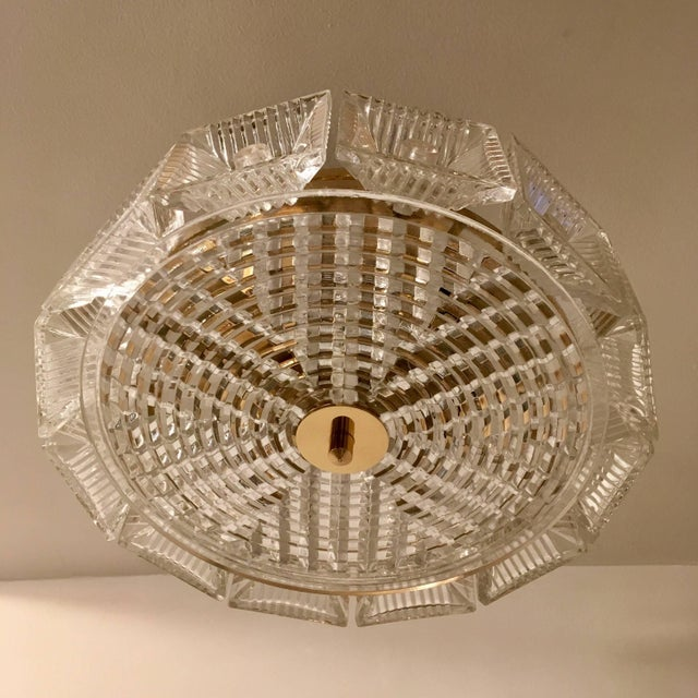 Brass Orrefors Swedish Crystal 1950s Flush Ceiling Hanging Amid Century Pendant For Sale - Image 8 of 9