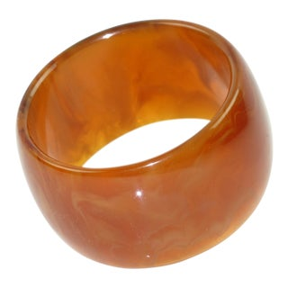 Bakelite Red Tea Amber Marble Bangle Bracelet XL Wide For Sale