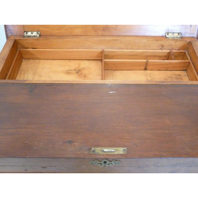 1860's Victorian Walnut Lift Top Writing Desk For Sale - Image 9 of 10