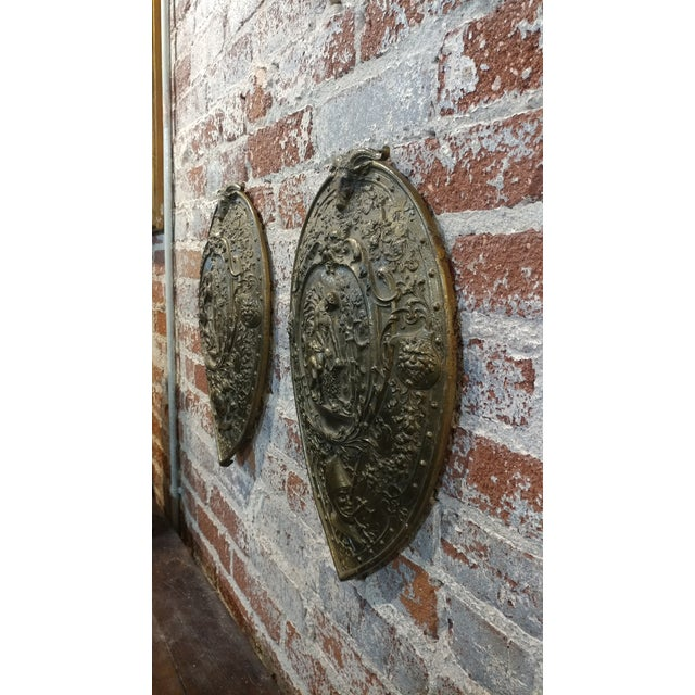 Gold Vintage Mythological Bronze Wall Plaque Shields - A Pair For Sale - Image 8 of 9