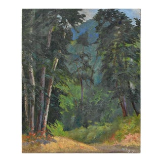 """Mid 20th Century """"The Glyn"""" Forest Landscape Oil Painting For Sale"""