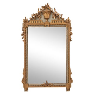 Early 20th Century French Painted and Gilded Trumeau Mirror For Sale