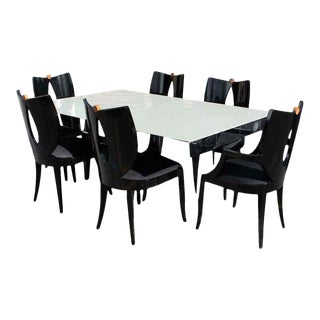 1980s Mid Century Modern Italian Pietro Constantini Ello Dining Table & Chairs - Set of 7 For Sale