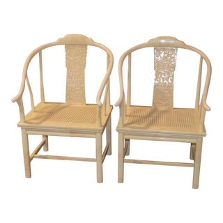 1960s Asian Henredon Arm Chairs with Marbelized Finish - a Pair