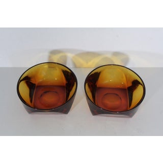 1960s Mid Century Modern Heavy Geometric Amber Ashtray Bowls - a Pair Preview