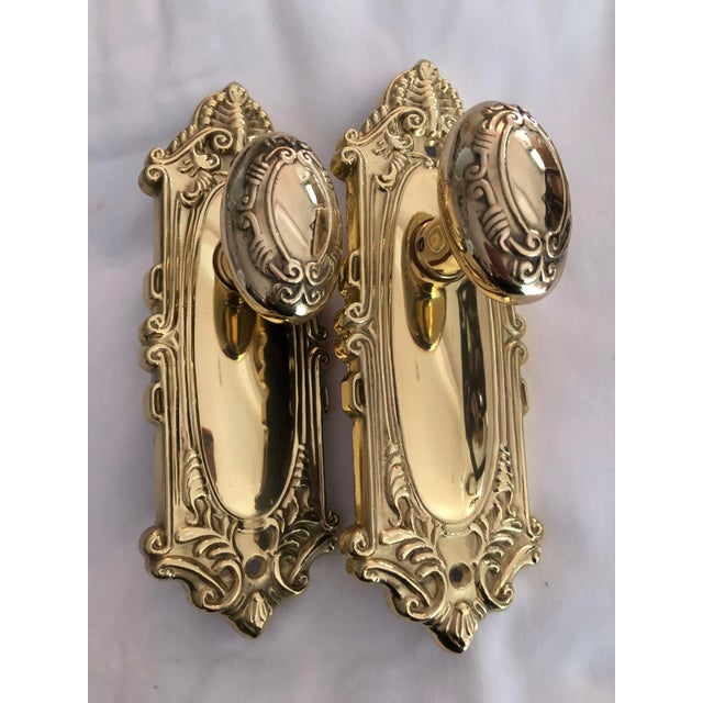 Emtek Designer Side Plates Polished Brass Doorknob Set For Sale - Image 11 of 11