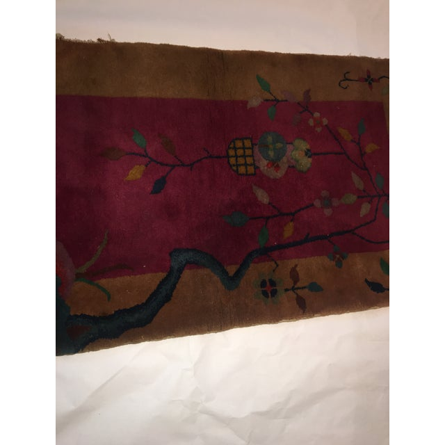 """Gold & Red Vintage Chinese Wool Rug - 2' x 3'10"""" For Sale In New York - Image 6 of 11"""