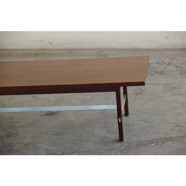 Paul McCobb Walnut and Aluminum Coffee Table for Calvin Furniture For Sale In New York - Image 6 of 9