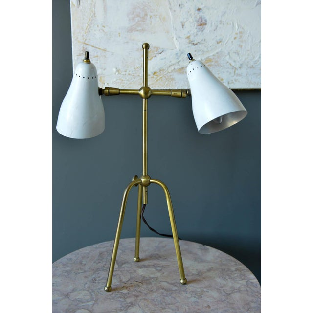Stilnovo Vintage White and Brass Italian Two-Arm Table Lamp, Circa 1960 For Sale - Image 4 of 9