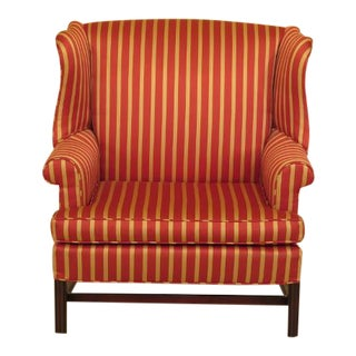 Chippendale Style Oversize Mahogany Wing Chair