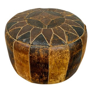 Vintage Moroccan Leather Patchwork Ottoman Footstool For Sale