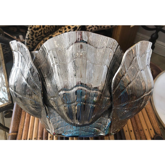 """Fabulous Nickel-Plated Bronze Clamshell Cachepot or Wine Cooler Ice Bucket This is a large 14"""" by 10"""" Nickel-plated bronze..."""