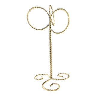 Vintage Brass Free Standing Hand Towel Holder For Sale